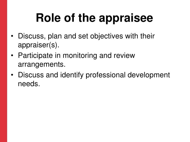 Role of the appraisee