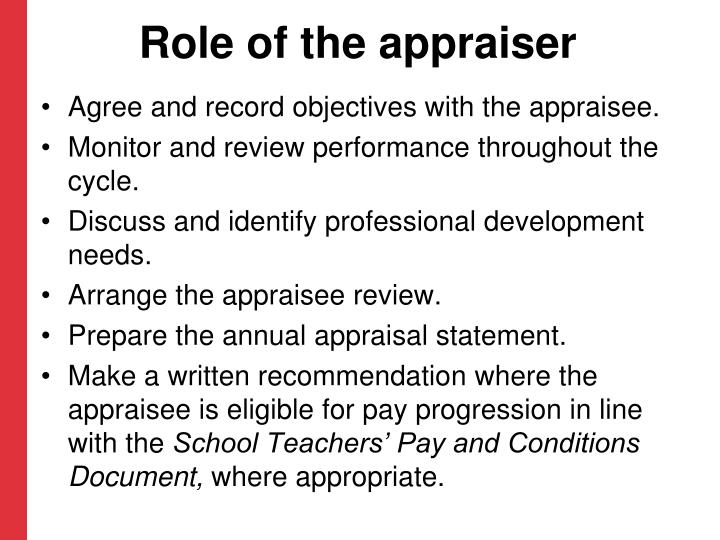 Role of the appraiser
