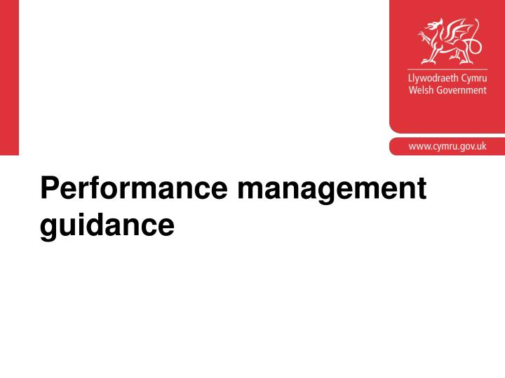 Performance management guidance