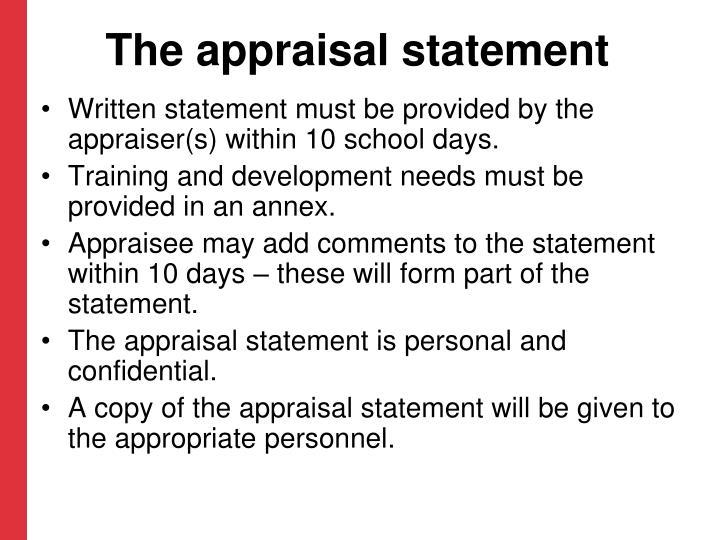 The appraisal statement