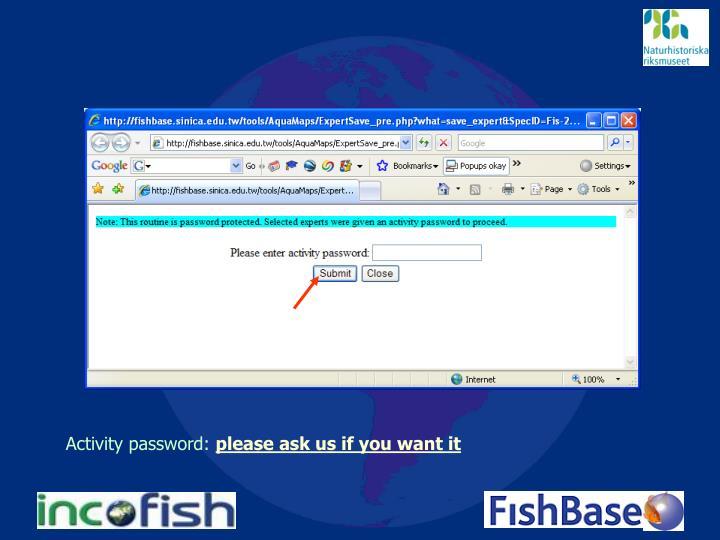 Activity password: