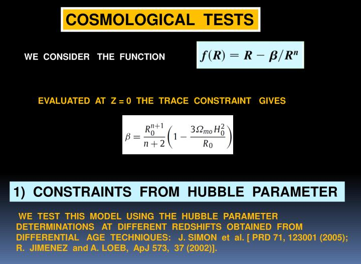 COSMOLOGICAL  TESTS