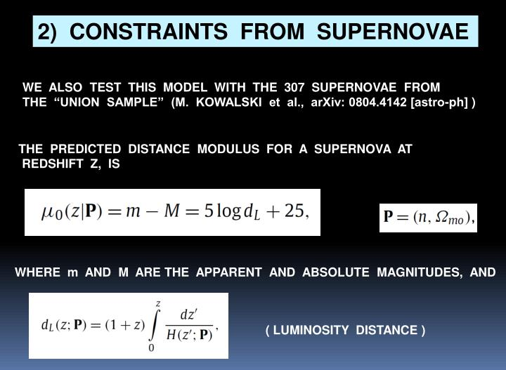 2)  CONSTRAINTS  FROM  SUPERNOVAE