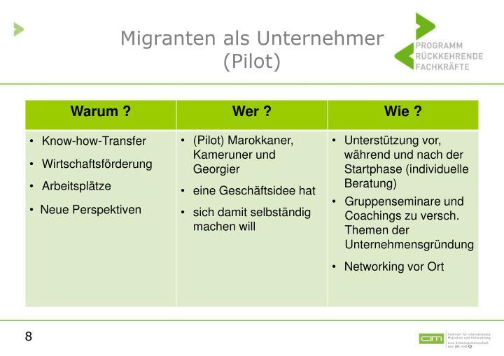 Migranten als Unternehmer
