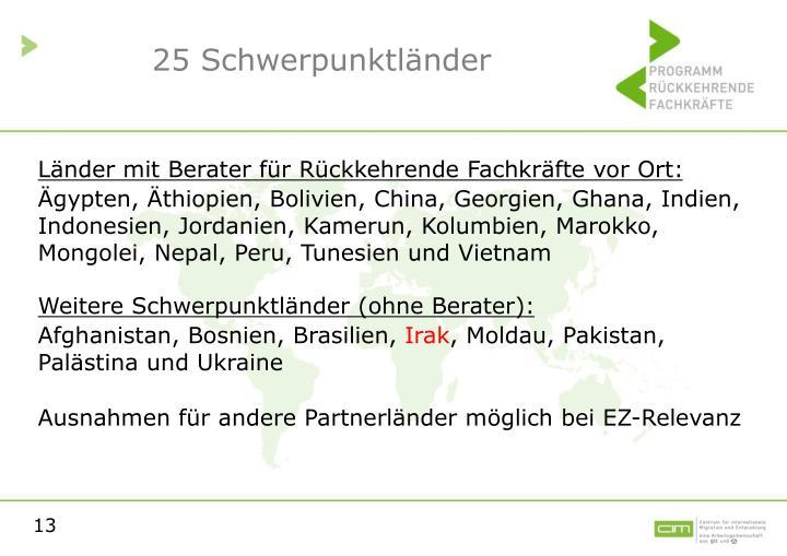 25 Schwerpunktländer