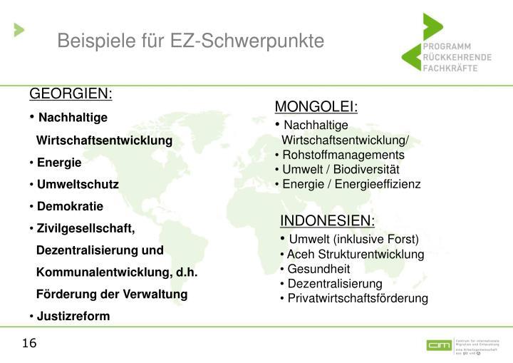 Beispiele für EZ-Schwerpunkte