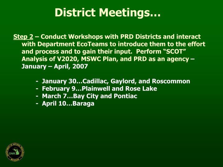 District Meetings…