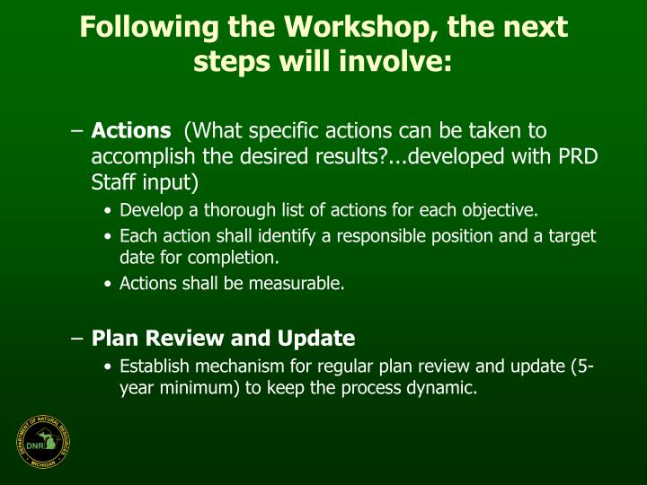 Following the Workshop, the next steps will involve: