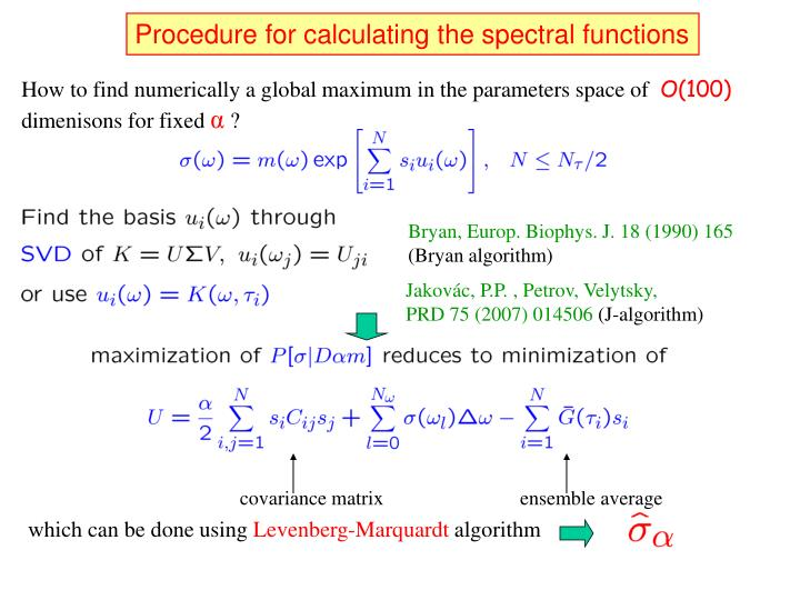Procedure for calculating the spectral functions