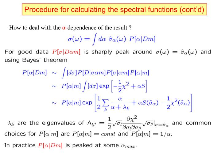 Procedure for calculating the spectral functions (cont'd)