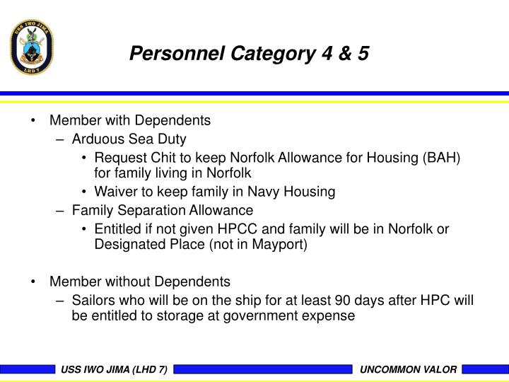 Personnel Category 4 & 5