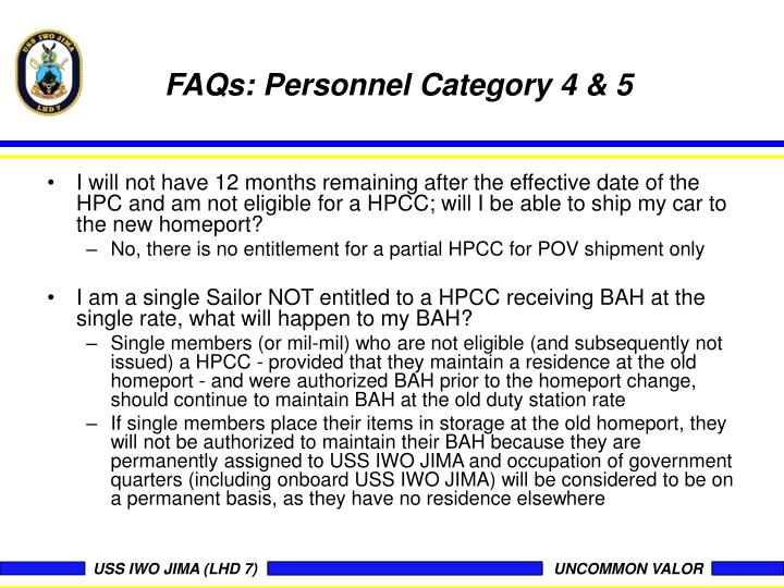 FAQs: Personnel Category 4 & 5