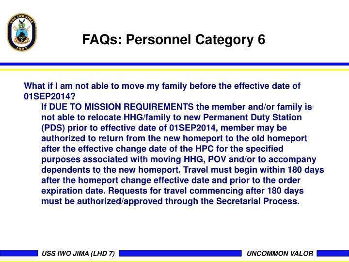 FAQs: Personnel Category 6