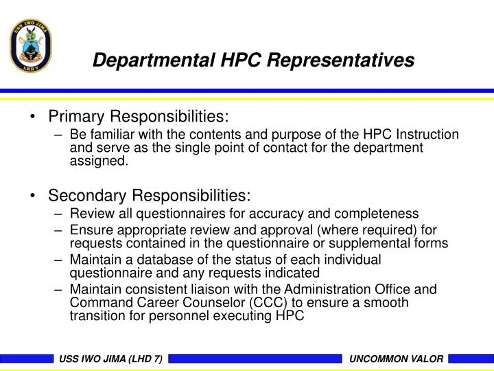 Departmental HPC Representatives