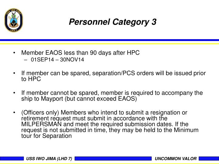 Personnel Category 3