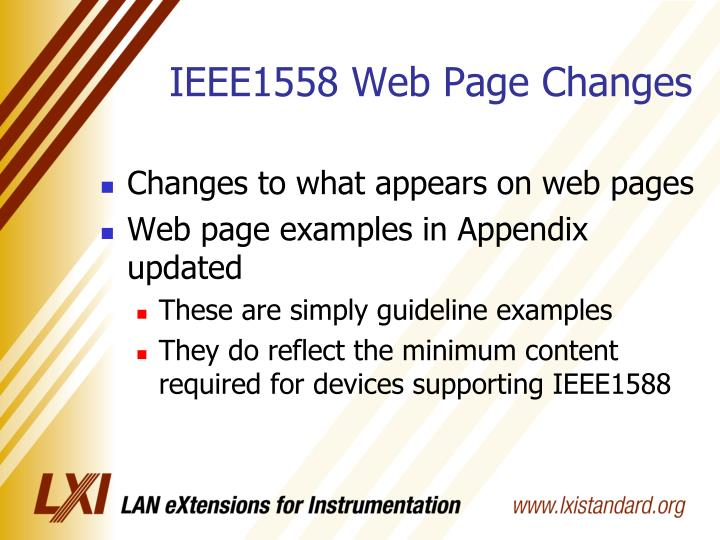 IEEE1558 Web Page Changes