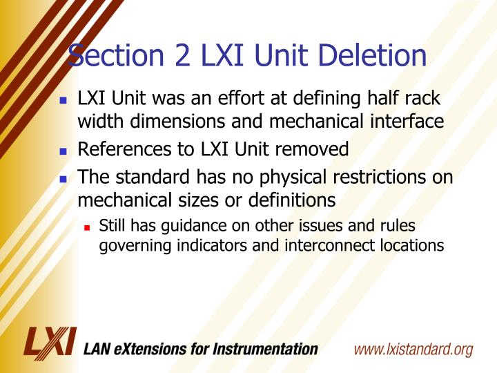 Section 2 LXI Unit Deletion