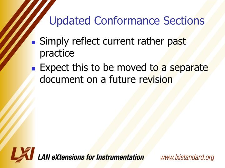 Updated Conformance Sections