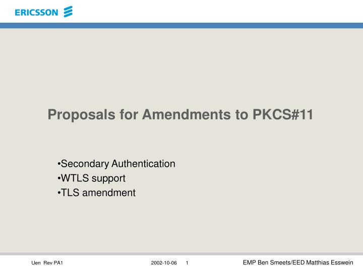 Proposals for amendments to pkcs 11