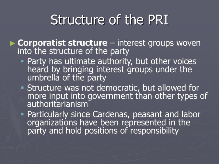 Structure of the PRI