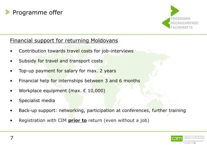 Programme offer