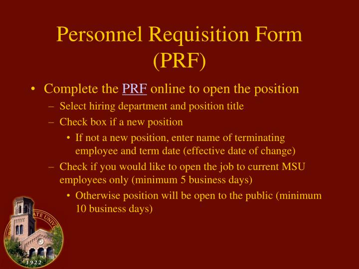 Personnel requisition form prf