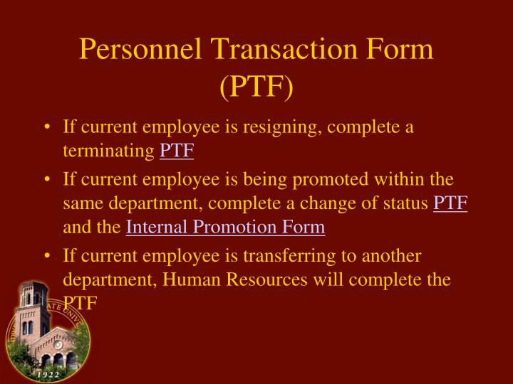 Personnel transaction form ptf