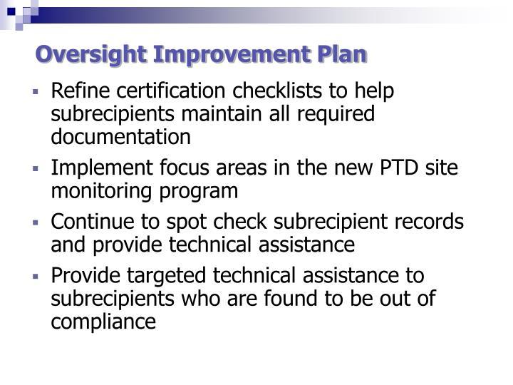 Oversight Improvement Plan