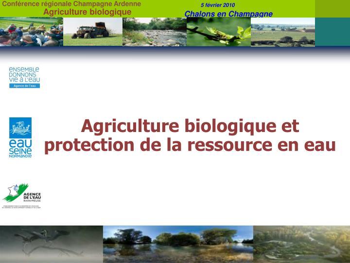 Agriculture biologique et protection de la ressource en eau