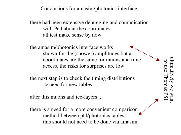 Conclusions for amasim/photonics interface