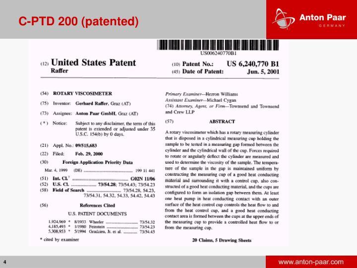C-PTD 200 (patented)
