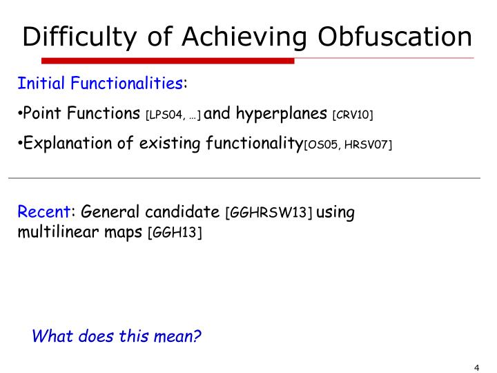 Difficulty of Achieving Obfuscation