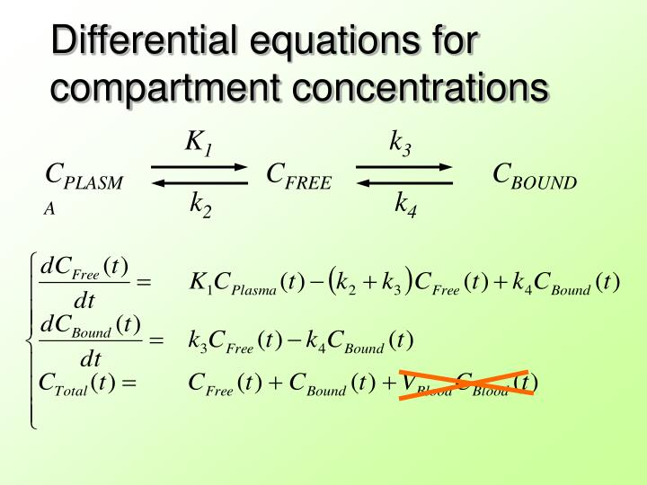 Differential equations for compartment concentrations