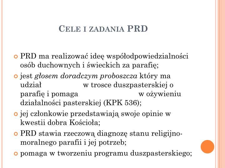 Cele i zadania PRD