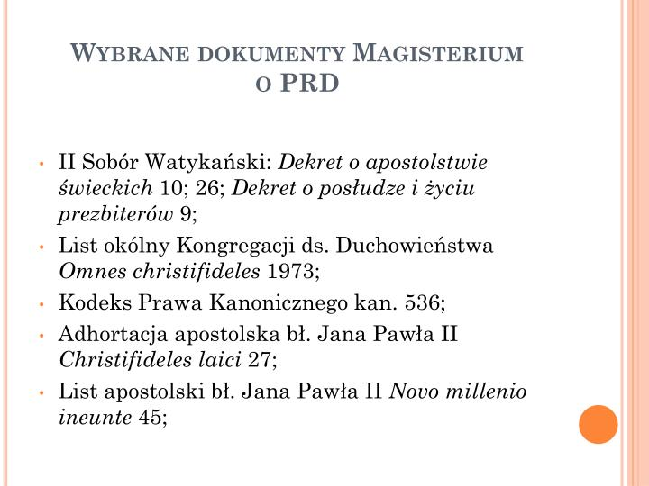 Wybrane dokumenty Magisterium