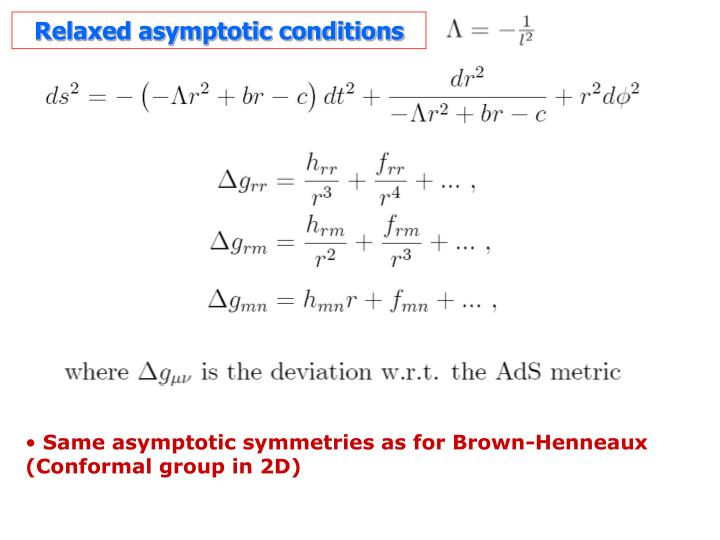 Relaxed asymptotic conditions
