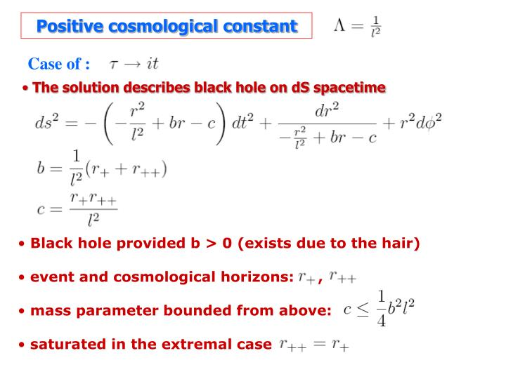 Positive cosmological constant