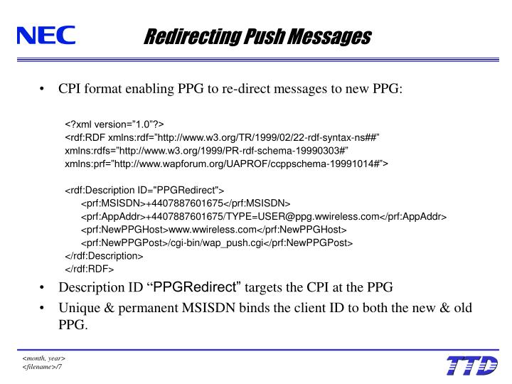 Redirecting Push Messages