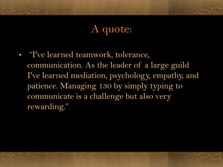 A quote: