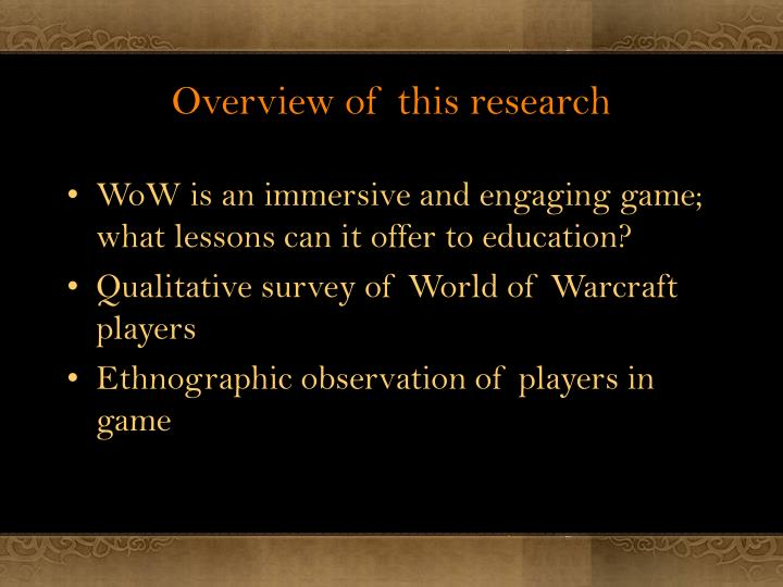 Overview of this research