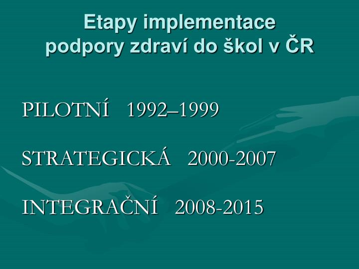 Etapy implementace