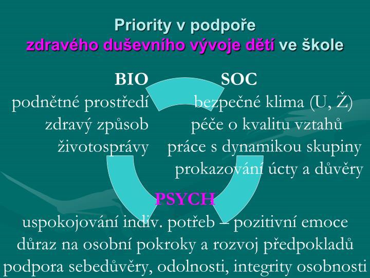 Priority v podpoře