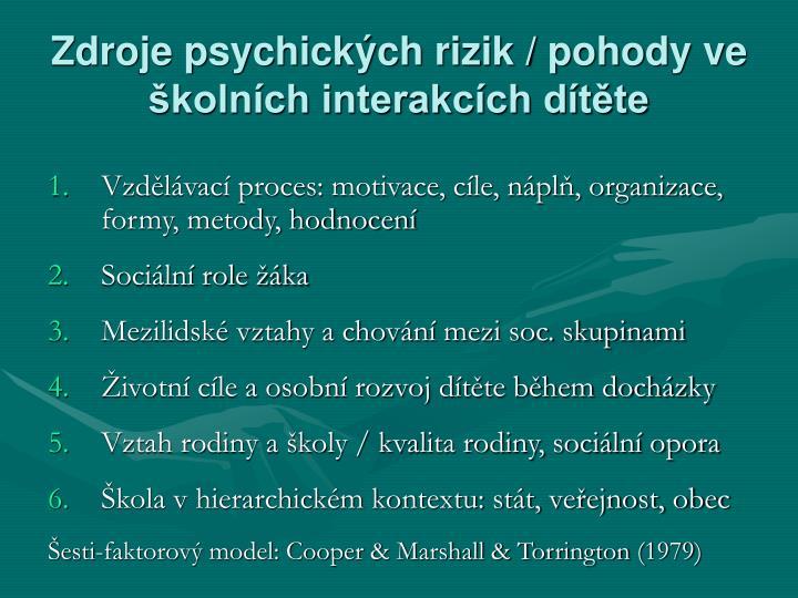 Zdroje psychických rizik / pohody ve školních interakcích dítěte