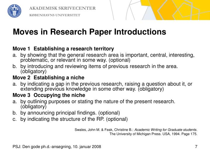 Moves in Research Paper Introductions