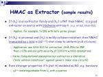 hmac as extractor sample results