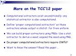 more on the tcc 12 paper