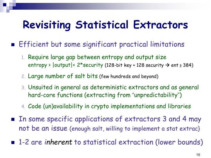 Revisiting Statistical Extractors