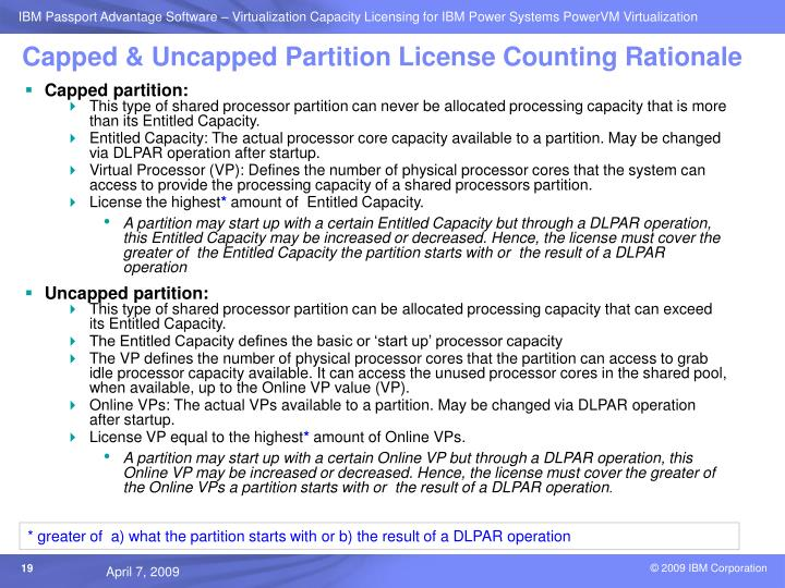 Capped & Uncapped Partition License Counting Rationale