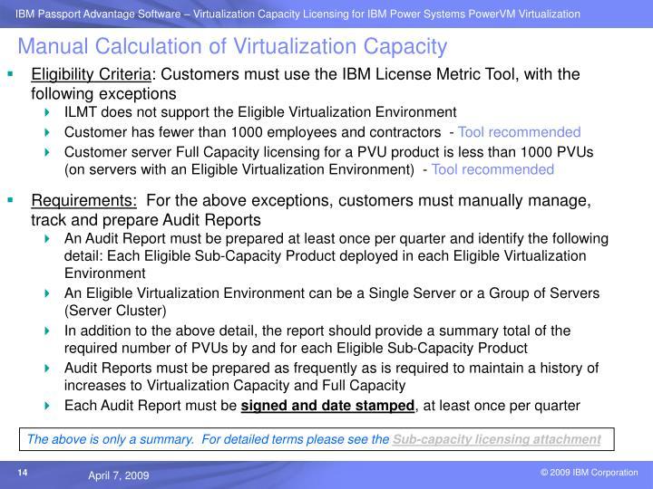 Manual Calculation of Virtualization Capacity