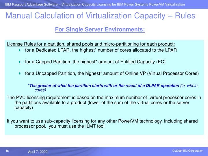 Manual Calculation of Virtualization Capacity – Rules